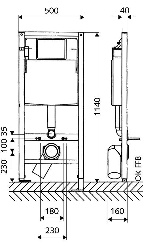 Схема Инсталляция для унитаза Schell 032500099 с белой клавишей, креплением, прокладкой